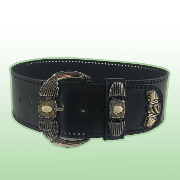 Vintage Accessories - Wide Black Leather Belt w/Unique Silver Hardware